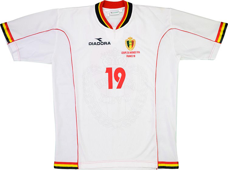 1998 Belgium Match Issue World Cup Away Shirt Van Meir 19 (v Holland)