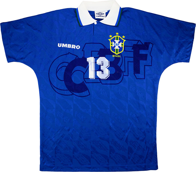 1994 Brazil Match Issue World Cup Away Shirt Mozer 13