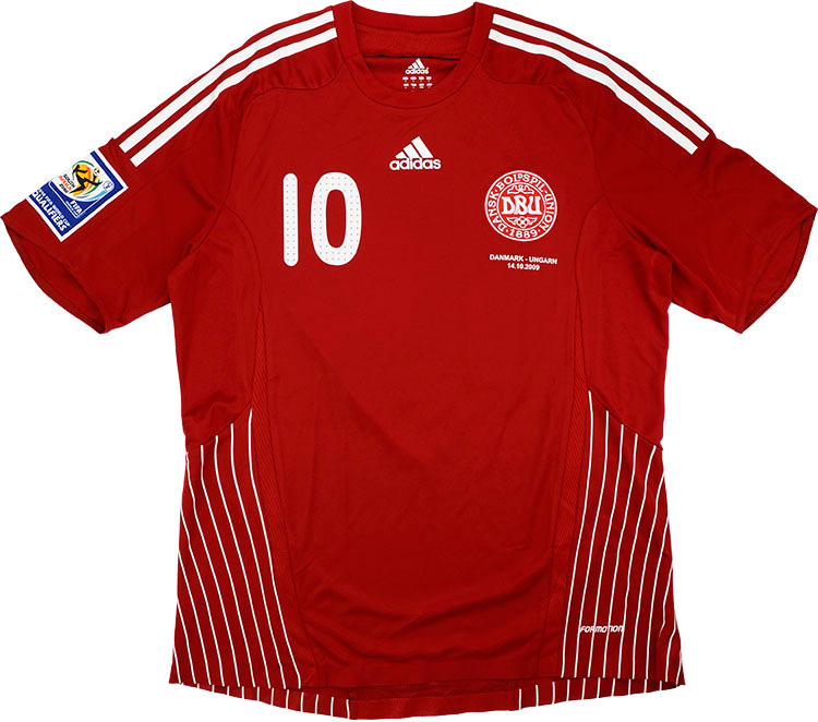 2009 Denmark Match Issue Home Shirt 10 (Rommedahl) v Hungary