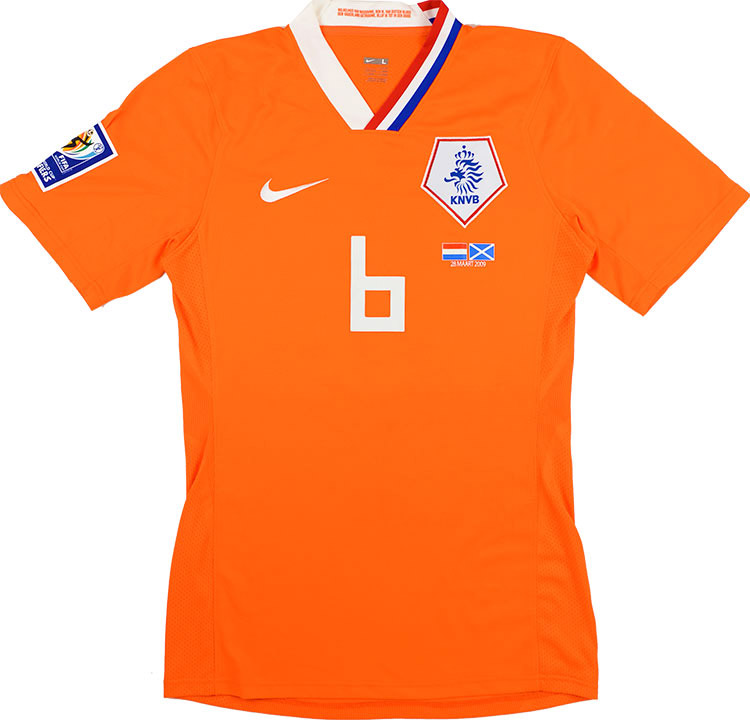 2009 Holland Match Issue Home Shirt De Jong 6 (v Scotland)