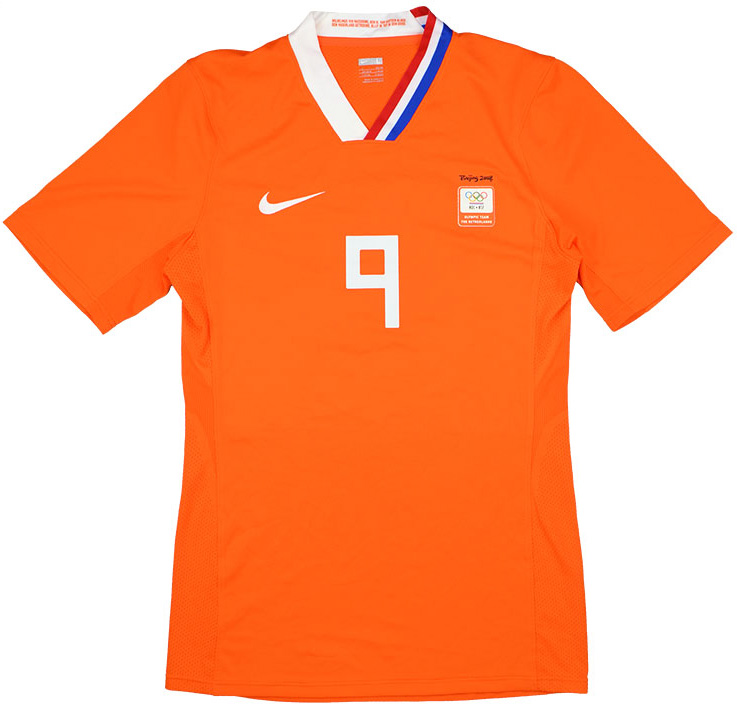 2008 Holland Olympics Match Worn Home Shirt Makaay 9