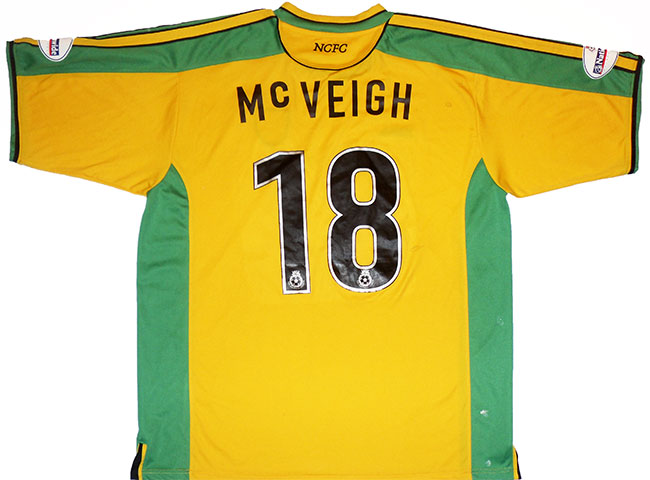 200304 Norwich Match Issue Home Shirt McVeigh 18